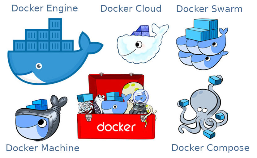 A selection of Docker logos. Source: Adapted from Janetakis 2017.